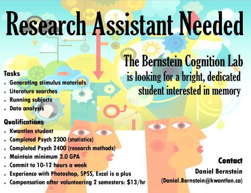 Lab assistant needed Jan 2013